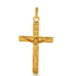 Christ en croix aux coeurs en plaqué or