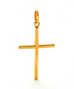 Croix latine fine en plaqué or