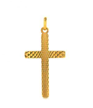 Croix latine gaufrée en plaqué or