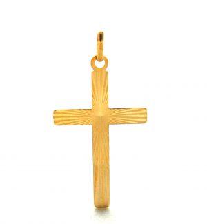 Croix latine lapidée en plaqué or