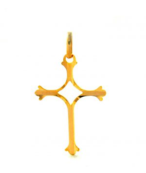 Croix tréflée ajourée en plaqué or
