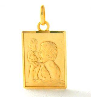 Saint Christophe - Médaille rectangle en plaqué or