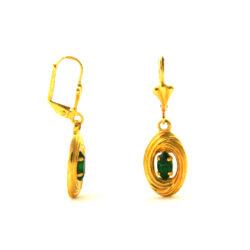 Boucles d'oreilles pendantes au coeur vert en plaqué or