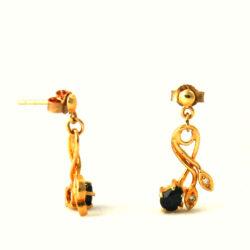 Pendantes saphir et oxyde de zirconium – Boucles d'oreilles en plaqué or