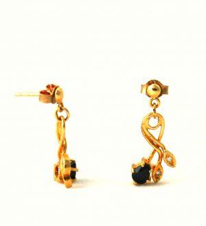 Pendantes saphir et oxyde de zirconium - Boucles d'oreilles en plaqué or