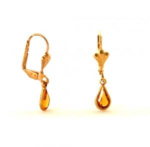 Gouttes d'eau ambrées pendantes  - Boucles d'oreilles plaqué or
