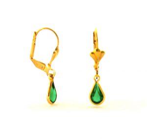 Gouttes d'eau vertes foncées pendantes  - Boucles d'oreilles plaqué or