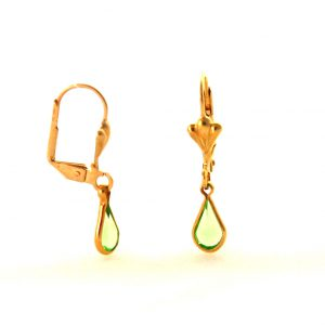Gouttes d'eau vertes pendantes  - Boucles d'oreilles plaqué or