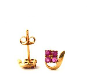 Puces aux quatre rubis - Boucles d'oreilles en plaqué or
