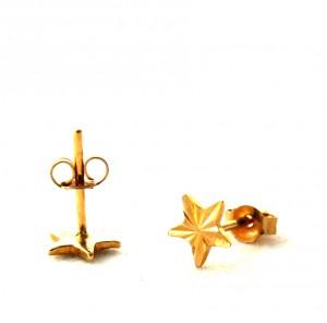 Puces étoiles finement ciselées - Boucles d'oreilles en plaqué or