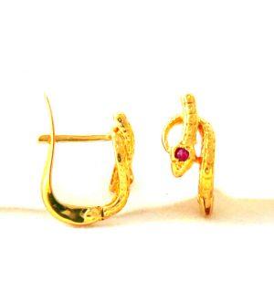 Boucles d'oreilles serpent améthyste en plaqué or