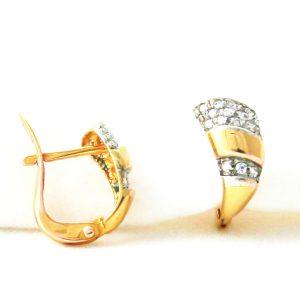 Boucles d'oreille diamantées d'oxydes de zirconium en plaqué or