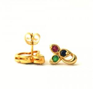 Puces saphir, émeraude et rubis - Boucles d'oreilles en plaqué or