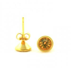 Puces pierre ambrée - Boucles d'oreilles en plaqué or