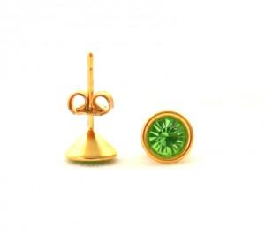 Puces pierre verte - Boucles d'oreilles en plaqué or