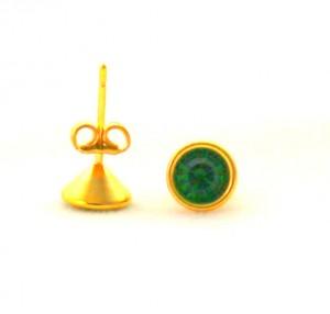 Puces pierre verte foncée - Boucles d'oreilles en plaqué or