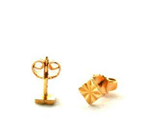 Puces carrées finement ciselées - Boucles d'oreilles plaqué or