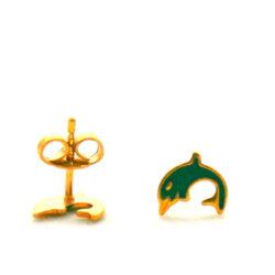 Boucles d'oreilles en plaqué or et émaillé Dauphins