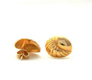 Boucles d'oreilles ovales mi-striées et mi-lisses en plaqué or