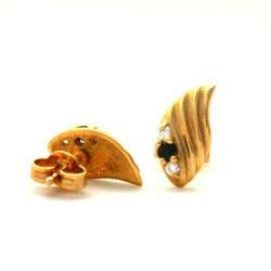 Boucles d'oreilles saphir et oxydes de zirconium en plaqué or