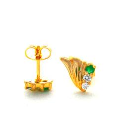 Boucles d'oreilles en plaqué or, oxyde de zirconium et chrysoprase