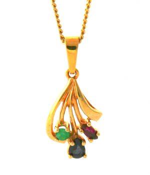 Collier pendentif rubis, émeraude, saphir avec chaîne plaqué or 45 cm