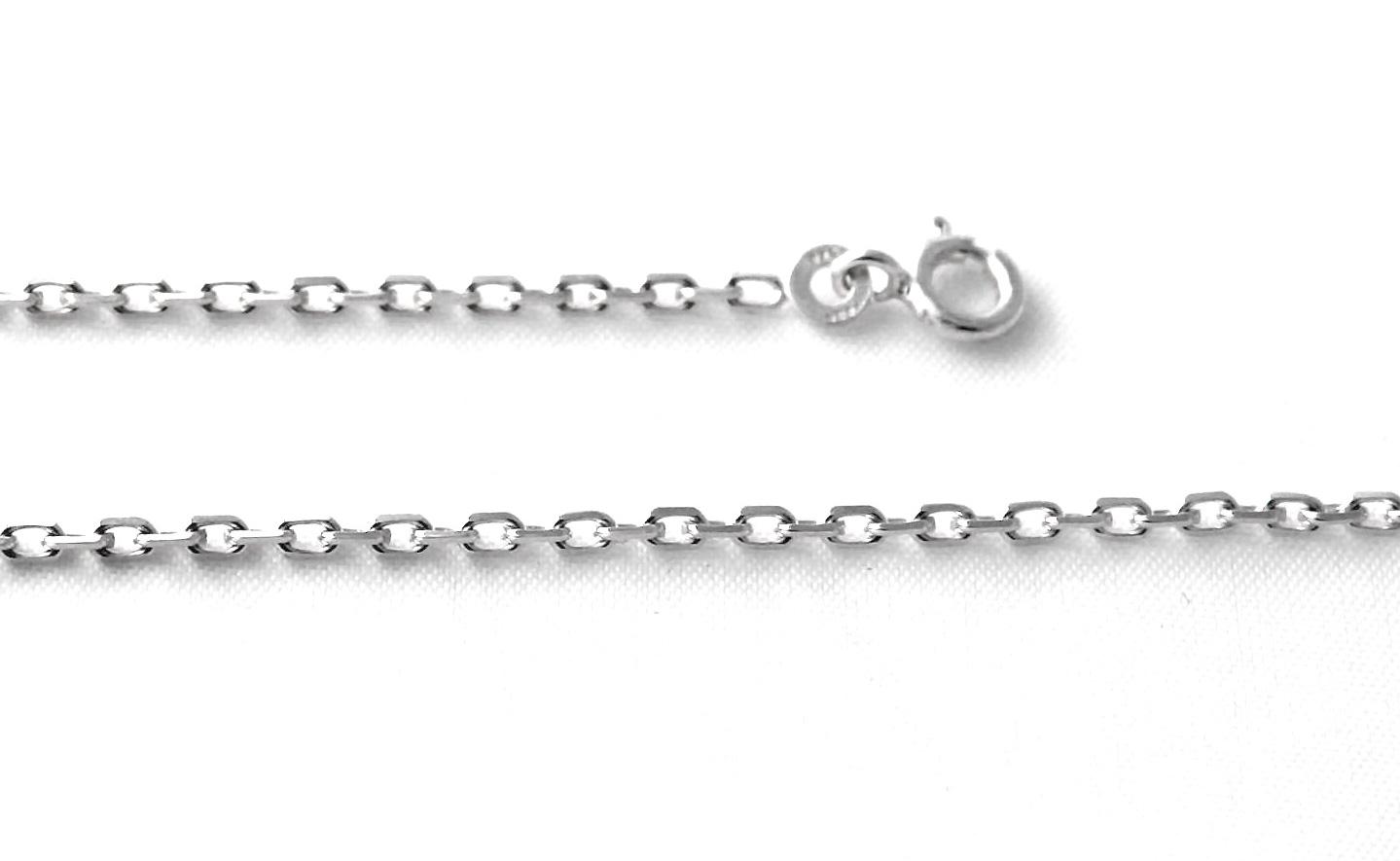 Chaîne en argent 50 cm – Mailles fines forçat limée 1,5 mm