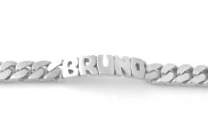 Gourmette identité prénom découpé Bruno en argent 21,5 cm