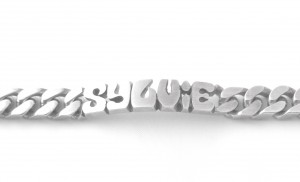 Gourmette identité prénom découpé Sylvie en argent 21,5 cm
