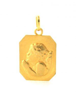 Ange en prière Robbez-Masson - Médaille rectangulaire en or 750/1000