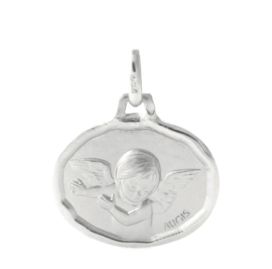 Ange ovale Augis – Médaille en or blanc 750/1000