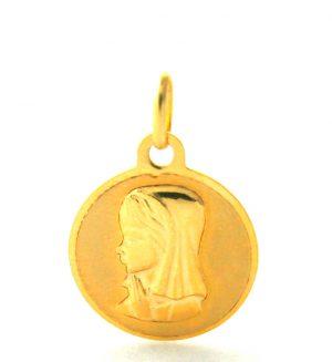 Vierge au voile en prière - Médaille ronde en or 750/1000