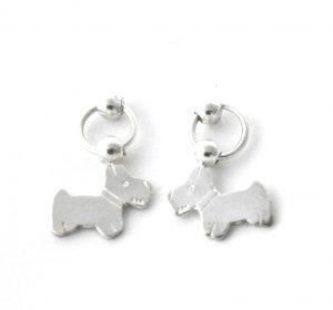 Pendantes puces et chien en argent - Boucles d'oreilles