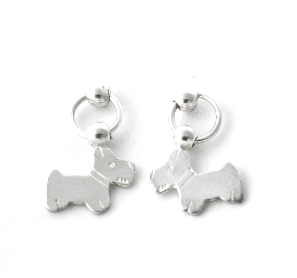 Pendantes puces et chien Argent 925/1000 – Boucles d'oreilles