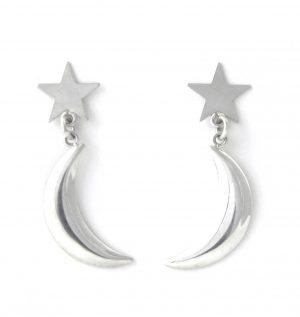 Pendantes étoile lunaire en argent - Boucles d'oreilles