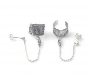 Puces chaîne et anneau en argent - Boucles d'oreilles