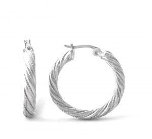 Créoles torsadées feuille d'argent - Boucles d'oreilles rondes 30 mm