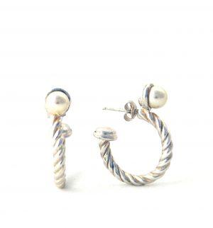 Demi-créoles perle et torsades en argent - Boucles d'oreilles rondes 21,7 mm