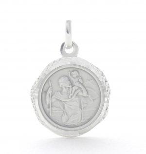 Saint Christophe en argent - Médaille ronde