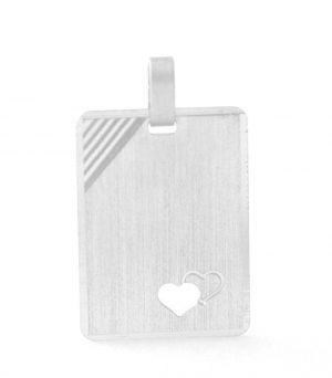 Plaque rectangle à graver au coeur ajouré en argent rhodié