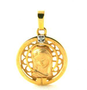 Vierge auréolée ajourée - Médaille ronde en or 750/1000