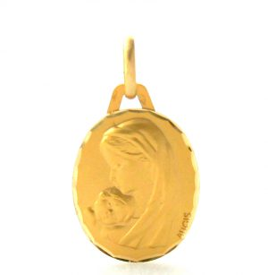 Vierge à l'enfant Augis - Médaille ovale en or 750/1000