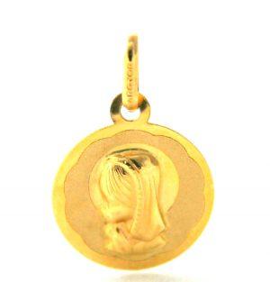 Vierge de profil auréolée Argyor - Médaille en or 750/1000