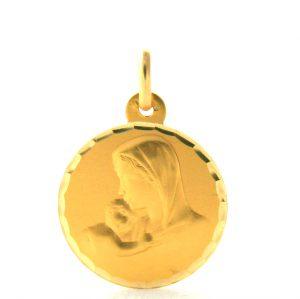 Vierge à l'enfant Argyor - Médaille ronde en or 750/1000