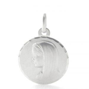 Vierge Marie Anne Argyor - Médaille ronde en or blanc 750/1000