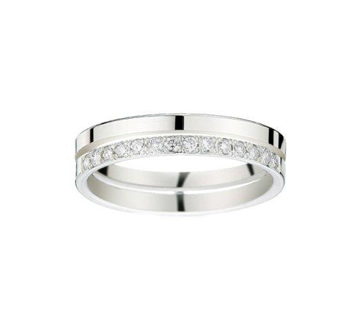 Alliance 2 rubans, diamants 0,10 carat Or blanc 750/1000 – Taille 54