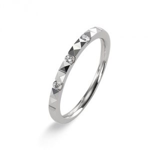 Alliance ludique prismes, diamants 0,10 carat et Or blanc 750/1000 - Taille 54