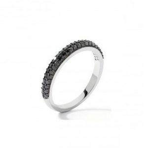 Bague Oressence Saturne diamants noirs 0,41 carat et Or blanc 750/1000 - Taille 53