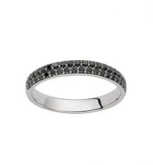 Bague Oressence Saturne diamants noirs 0,41 carat et Or blanc 750/1000 – Taille 53