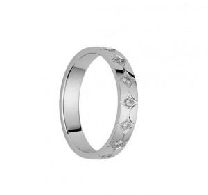 Alliance femme diamants 0,105 carat et Or blanc palladié 750/1000 - Taille 53